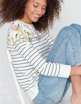 Harbour Print Long Sleeve Jersey Top in White