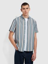 Robertson Casual Fit Short Sleeve Striped Organic Cotton Shirt In Yale in Blue