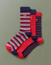 3 Pack Bamboo Cascade Socks in Red and Navy
