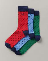 3 Pack Bamboo Cascade Socks in Red, Green and Blue