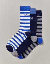 3 Pack Bamboo Cascade Socks in Grey, Navy and Blue