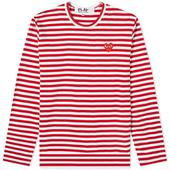 Comme des Garcons Play Long Sleeve Heart Stripe Logo Tee in Red and White