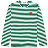 Comme des Garcons Play Long Sleeve Heart Stripe Logo Tee in Green and White