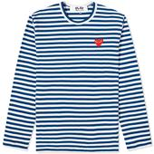 Comme des Garcons Play Long Sleeve Heart Stripe Logo Tee in White and Navy
