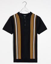 Tan Colour Block Knitted Polo in Black
