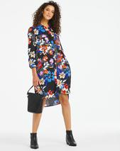 Dark Floral Print Pocket Shirt Dress in Multicoloured and Black