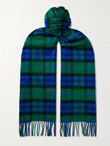 Fringed Checked Cashmere Scarf in Green