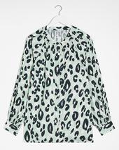 Mint Animal Viscose Collarless Blouse in Green
