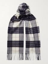 Fringed Checked Cashmere Scarf in White and Navy