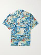 Land of Aloha Camp-Collar Printed Cotton Shirt in Blue