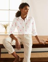 Embroidered Linen Shirt in White