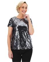 Pewter Sequin T-Shirt in Black