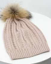 Dusty Pink Plaited Knit Pom Pom Hat in Pink