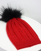 Red Plaited Knit Pom Pom Hat in Red