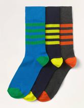Favourite Ribbed Socks in Grey, Navy and Blue