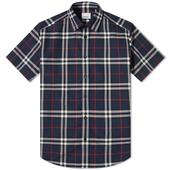 Burberry Short Sleeve Caxton Classic Check Shirt in Navy