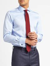 Non Iron Twill Double Cuff Slim Fit Shirt in Blue