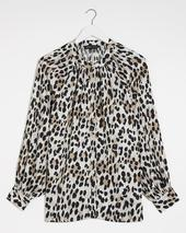 Leopard Print Viscose Collarless Blouse in Brown