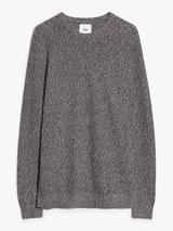 Twisted Knit Cotton Crew Neck Jumper in Neutral