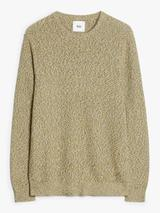 Twisted Knit Cotton Crew Neck Jumper in Green