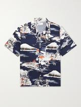 Road Camp-Collar Printed Cotton Shirt in Navy