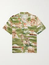 Road Camp-Collar Printed Cotton Shirt in Green