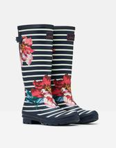 Printed Wellies With Adjustable Back Gusset in Navy