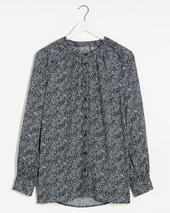 Blue Print Viscose Collarless Blouse in Navy