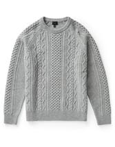 Finnis Lambswool Cable Knit Sweater in Grey