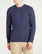 Hainton Cotton Cable Knit Jumper in Navy