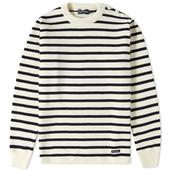 Fouesnant Wool Mariner Knitted Jumper in Neutral and Navy